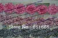 Free CPAM shabby chiffon printed wedding dress flower lace trimming ,children/kid hair flower accessories, 6cm,20pcs/lot