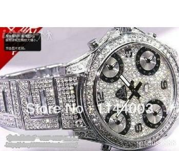 100% Original New silver full iced bling bling watch diamond(China (Mainland))