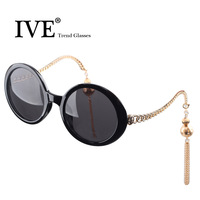 Ive elegant women's circle lantern 2014 sunglasses big box tassel sunglasses sun glasses