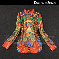 2014 spring and summer women's vintage chinese style plate buttons stand collar print long-sleeve shirt