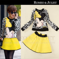 2014 spring and summer women's cartoon print long-sleeve T-shirt half-skirt casual twinset