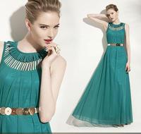 Bohemia full dress perfect sexy cutout o-neck chiffon one-piece dress ultra long dress