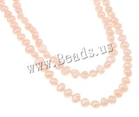 Free shipping!!!Natural Freshwater Pearl Necklace,Bulk Jewelry, 2-strand, pink, 4-8mm, Sold Per Approx 48.5 Inch Strand