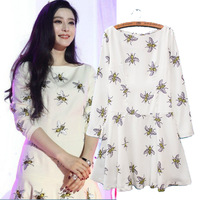 2014 Spring And Summer Women'S Small Bees Print Dress WD06