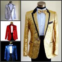 Bird male formal dress costume paillette suits clothes male