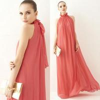 Bohemia full dress perfect halter-neck stand collar chiffon one-piece dress ultra long dress