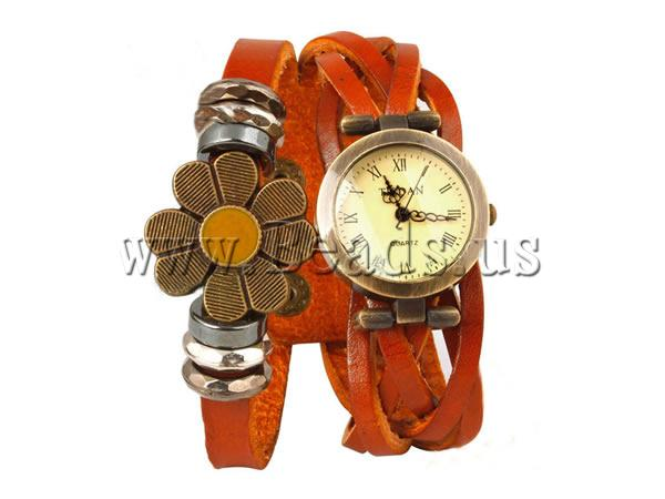 Free shipping Cowhide Watch Bracelet Statement Jewelry with Zinc Alloy plated enamel 2 strand orange nickel