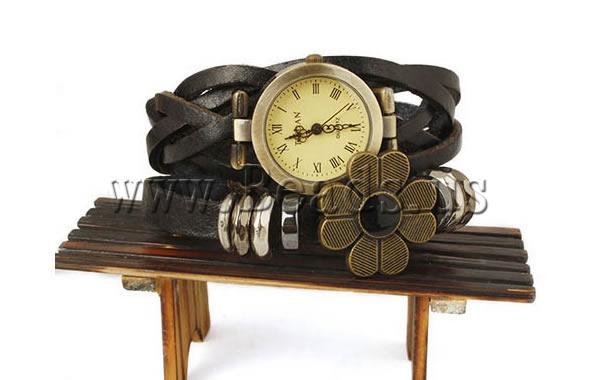 Free shipping Cowhide Watch Bracelet Fashion Jewelry in Bulk with zinc alloy dial plated enamel 2