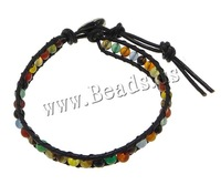 Free shipping!!!Agate Wrap Bracelet,Inspirational, with Cowhide, brass clasp, platinum color plated, 7mm, 4mm