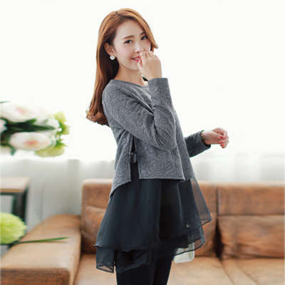 Free shipping Fashion spring 2014 twinset one-piece long-sleeve maternity dress maternity clothing top(China (Mainland))
