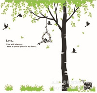 2014 New Pvc Green Through The Arbor Trees With Birds DIY Home Decoratio Mural  Wall Sticker