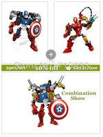 2X Freeshipping Decool  3D Super Hero Factory Iron Man,Captain America building blocks kids robot toys