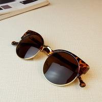 Circle cat-eye sunglasses male women's metal box large vintage sunglasses fashion sunglasses