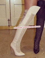 Over the knee boot features a sleek pointed-toe high heel sandal boots thigh high gladiator boots cut out cream boot