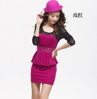 new 2014 fashion Sexy show thin package hip render unlined upper garment