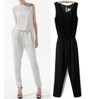 women new fashion Jumpsuits 2014 summer Chiffon sexy transparent ladies club bodysuits Onesie Overalls Female Rompers WKL092