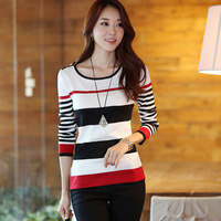 Low price discount Spring Women's Bottoming Knitwear Casual Fashion Long Sleeve Striped Slim Sweater Cheap 489