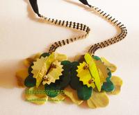 Fashion diamond chain marni ribbon exaggerated necklace