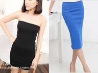 2014 One piece all-match high-elastic long tube  tube top basic slim hip one-piece dress