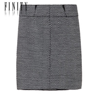 Finity women's spring fashion classic formal stripe wool bust skirt