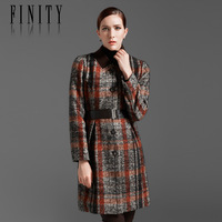 Finity women's autumn and winter outfit OL plaid woolen overcoat with belt