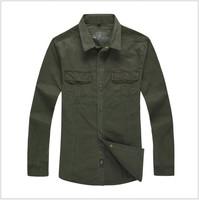 Spring 2014 Hot Sale Men's shirts tops men casual shirt Cotton Turndown collar 2colors men's clothing plus size free shipping