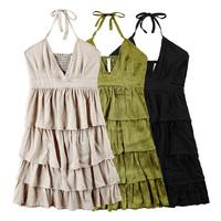 Girls sexy 2014 vivi halter-neck layered dress