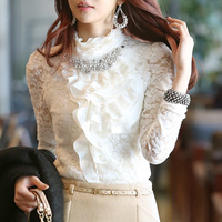 Free shipping fashion leisure autumn winter render unlined upper garment large size long-sleeved chiffon lace blouse nail bead