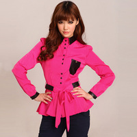 retail,womans slim blouses,rose red,classic collar,2 colors mixture design,european fashion,solid,ladys elegant clothing