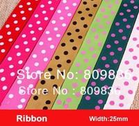 25mm Polka Dots printed ribbon,candy colors ribbon printed dots,ribbon for DIY,scrapbooking(ss-75)