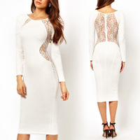2014 new Sexy Women Fashion  Crew Neck Lace Long Sleeve  Evening Party Club Dress free shopping QC0317