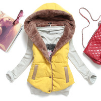 New all-match women vest hoodies plus size slim plus velvet vest thermal down cotton with a hood vest