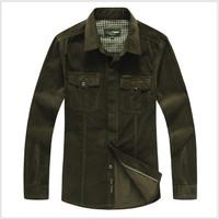 Spring 2014 Fashion Men's shirts tops men casual shirt Cotton Turndown collar 2colors men's clothing plus size free shipping
