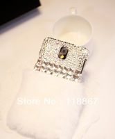 3pcs 2014 Luxury Fashion diamond soft rabbit fur case for Samsung S4 i9500 S3 i9300 Note 2 Note 3