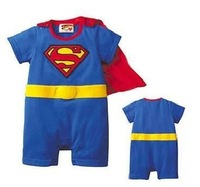 Wholesale 4pcs/lot Baby clothes superman rompers baby bodysuits for summer /short sleeve superman rompers / infant clothing