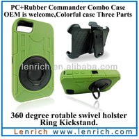 LPC1801 Free shipping 3 in 1 For iphone4 4s Plastic PC Rubber Commander Combo Case swivel holster ring kickstand case housing