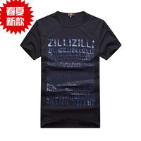 Zilli men's clothing t-shirt summer short-sleeve 2013 male straight o-neck short-sleeve t-shirt