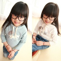 Children's clothing children's Hoodies & Sweatshirts printing cat white pink sky blue Sweatshirts coats free shipping 2-8y