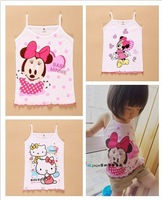 Free New 2014 Summer Children Tanks Girls Minnie Hello Kitty Cartoon undershirts Girls Clothing Kids Camisole 4pcs/lot