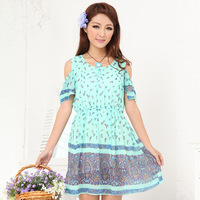 Beach dress bohemia chiffon short skirt casual one-piece dress spring student skirt