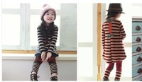 Spring children suit female 2 girls stripe unlined upper garment + leggings render suit