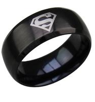 UK USA charms superman ring Hero charm titanium steel ring men jewelry women kids gift US Size6.7. 8.9.10.11.12 Free Shipping