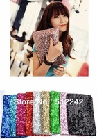 2014 New Fashion Women Party Evening Bag Bags Day Clutches Bling Shiny Sequins 10 Colors Free Shipping