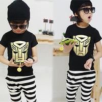 2014 children's summer clothing male child short-sleeve t-shirt stripe capris set