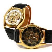 2014 Top Brand Luxury Vintage Leather Strap Steel Case Men Gold Mechanical Hand Wind Skeleton Wrist Dress Watch #L05430