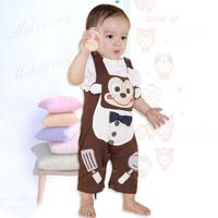 2014 children's clothing male child cartoon three-dimensional monkey short-sleeve baby romper set