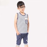 Children's clothing 2014 male child summer twinset vest set vest capris thin