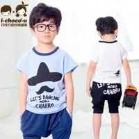 2014 summer boys clothing 100% cotton child sports set male child set child twinset