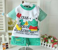 Children's clothing male child 2014 summer children frog buckle cotton short-sleeve 100% set twinset