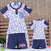 2014 summer children's clothing short-sleeve child set male child summer baby boy clothes 0-1 - 2 - 3